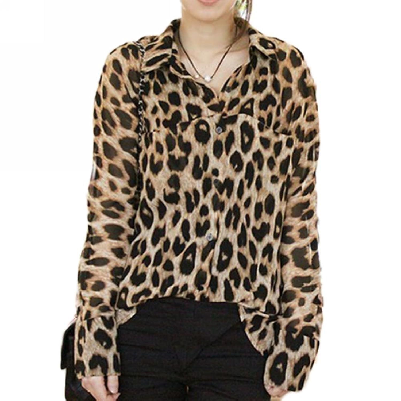 New y Womens Leopard Animal Print Tops Loose Chiffon Shirt Collar