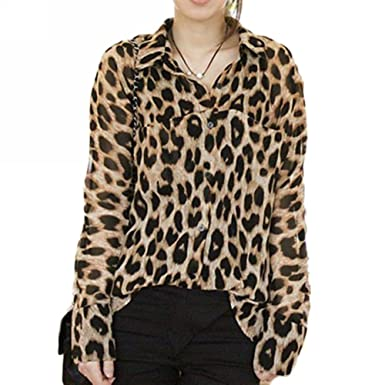 32f654697255 New Sexy Womens Leopard Animal Print Tops Loose Chiffon Shirt Collar Blouse