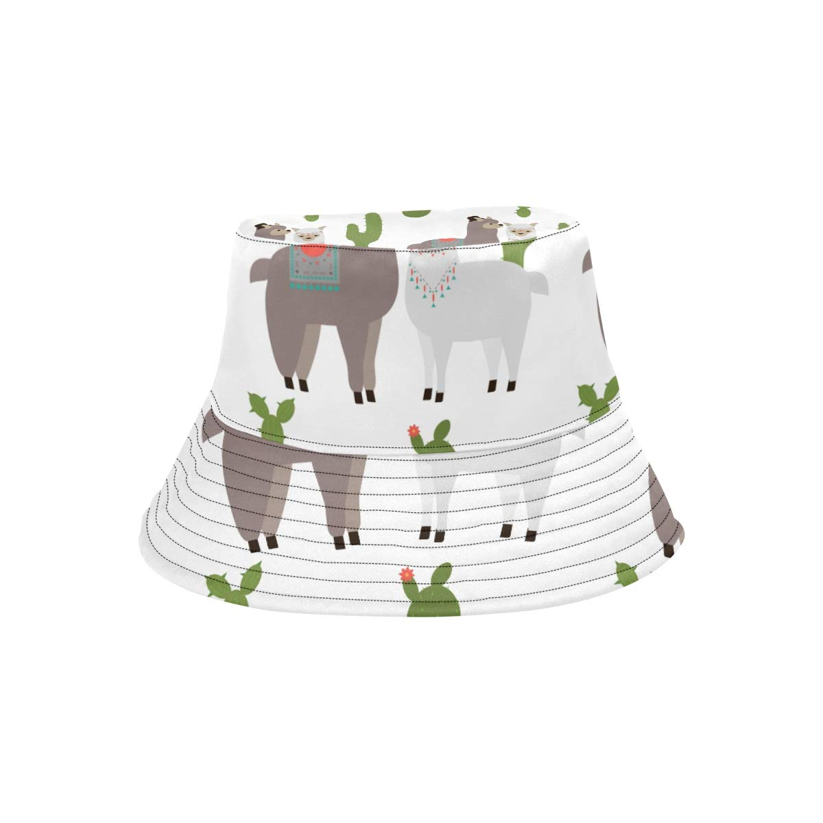 Cute Snow White Alpaca Lama with Cactus New Summer Unisex Cotton Fashion Fishing Sun Bucket Hats for Kid Teens Women and Men with Customize Top Packable Fisherman Cap for Outdoor Travel