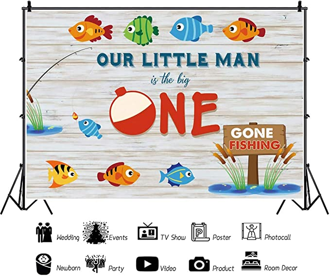 DaShan 14x10ft Our Little Man is Turning One Backdrop Fishing Ocean Nautical Theme Baby Boy Happy 1st Birthday Photography Background Rustic Wooden Wall Fish One Birthday Party Decor Photo Props