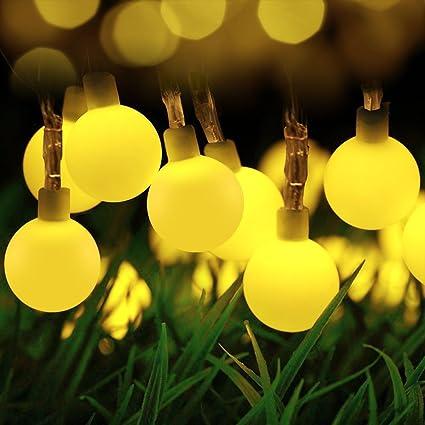 Outdoor String Lights Globe Amazon globe string lights loende outdoor string lights 8 globe string lights loende outdoor string lights 8 mode 50 led battery lights starry light workwithnaturefo