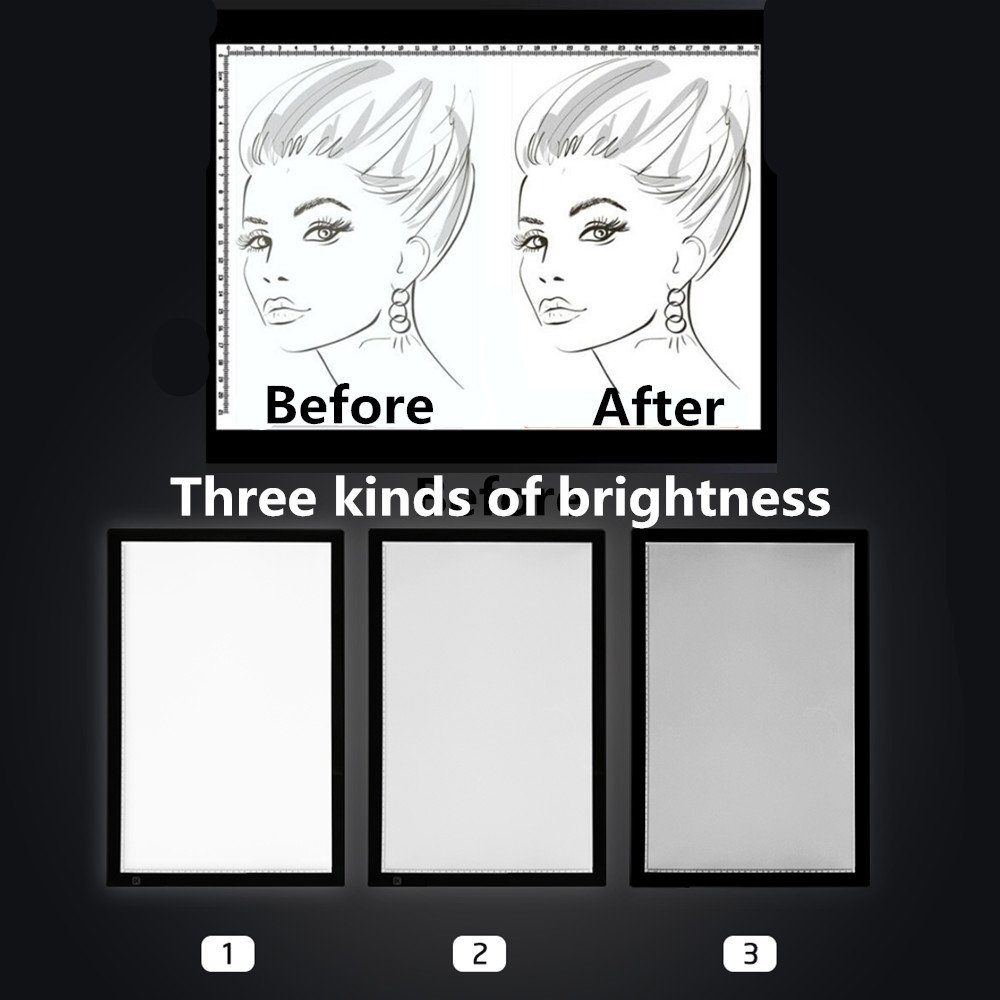 ZJchao A2 LED Tracing Board, Adjustable Brightness Light Box Stencil Drawing Board Table Copy Pad for Artcraft Animation Sketching Tattoo Transferring by ZJchao (Image #6)