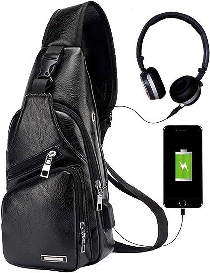 Men/'s Shoulder Bag Sling Chest PU Leather Charging Sports Crossbody Handbag