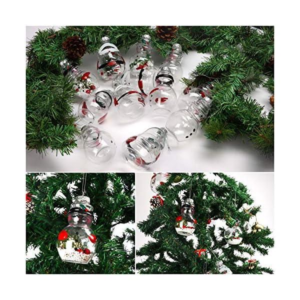 Palle di Natale Plastica (Set da 12)- Palline di Natale Trasparenti Forma Babbo Natale e Pupazzo Neve, 4 Cadauno per Decorazioni Natalizie, Addobbi per Feste di Compleanno, Addobbi Natalizi per Albero 4 spesavip