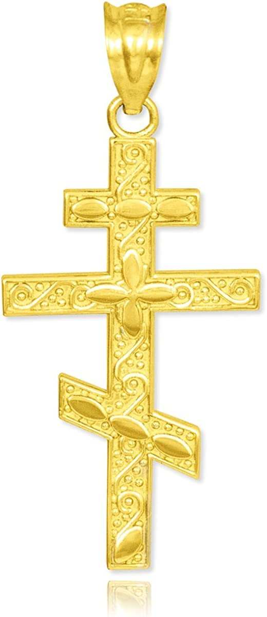 Certified 14k Yellow Gold Russian Orthodox Cross Pendant