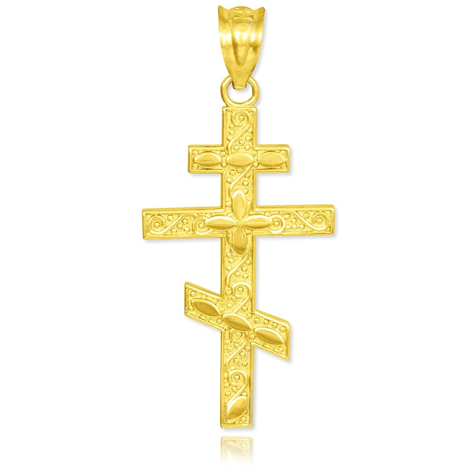 Amazon 10k Yellow Gold Russian Orthodox Cross Pendant Jewelry