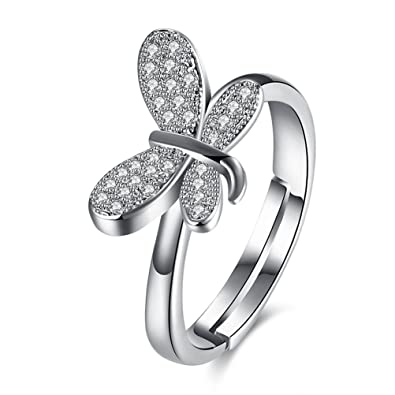 Simulated Rhinestone Butterfly Statement Ring For Women Girl 18K Gold Plated Birthday Gift Her