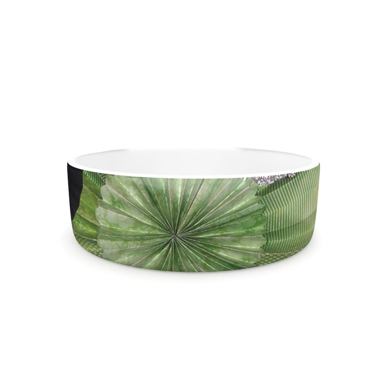 Kess InHouse Heidi Jennings Serenity  Pet Bowl, 7-Inch, Green Grey