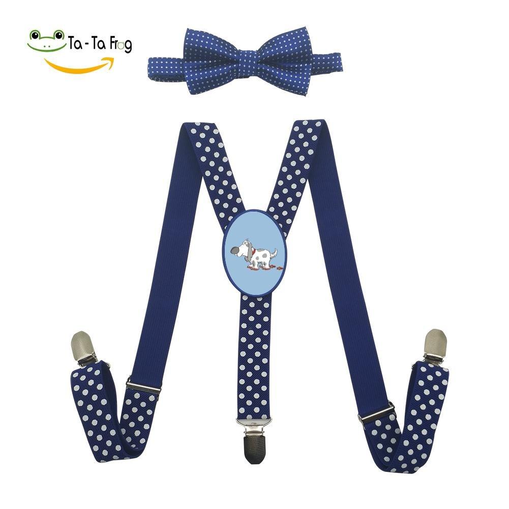 Xiacai Spotty Dog Suspender/&Bow Tie Set Adjustable Clip-On Y-Suspender Boys