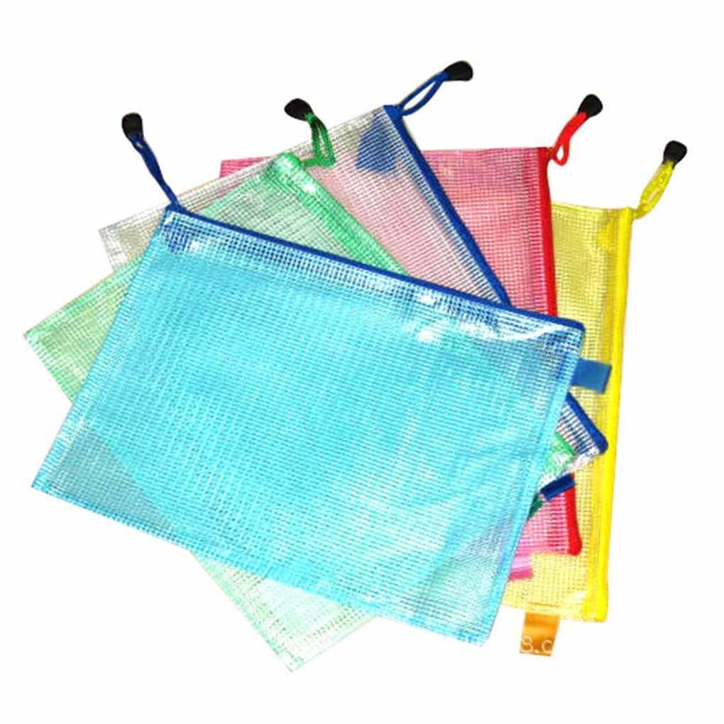 Bobury A3 / A4 / A5 / A6 / B4 / B5 / B6 Grid Sac a documents transparent Sac a bandouliere PVC Zipper Papier (couleur aleatoire)