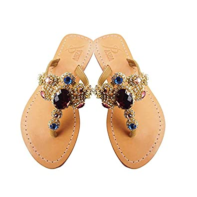 391f7dd1f PASHA RUDEN Crystal Jeweled Leather Sandals (5)