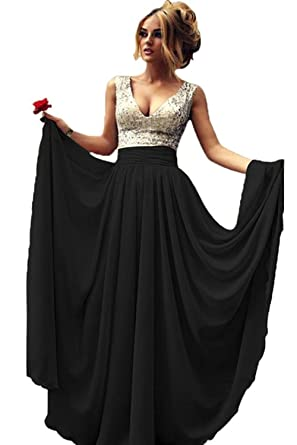 Momoai Womens Deep V-Neck Sequins Prom Dress Long Chiffon Bridesmaid Dress Formal Evening Gown