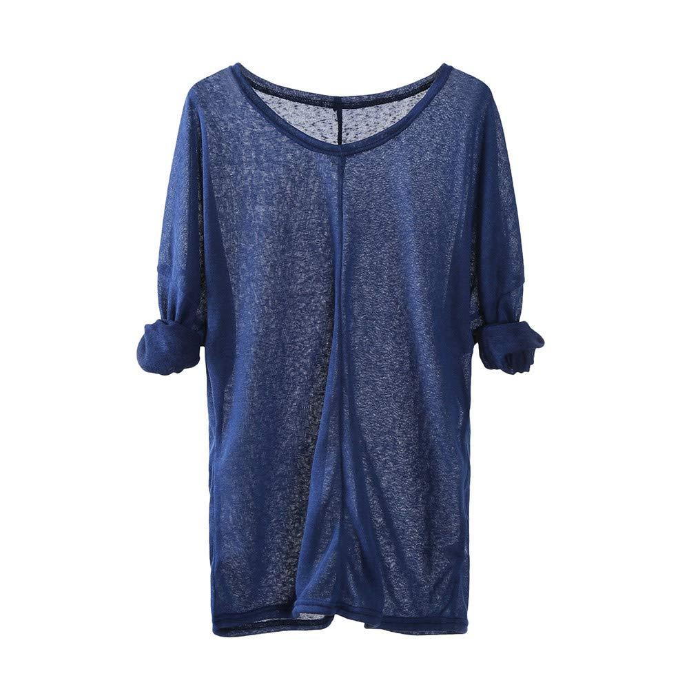 Shusuen Women Lightweight Knitting Sweaters Long Sleeve Loose Casual Blouse Tops Comfort Tunics Blue by Shusuen_Clothes