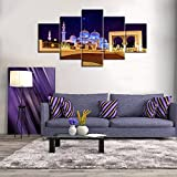 Dhabi Arabian Painting on Canvas Jerusalem Modern Wall Art Posters and Prints Islamic Religious Artwork Home Decor for living room Pictures 5 Panel HD printed Giclee Framed Ready to Hang(60''Wx32''H)