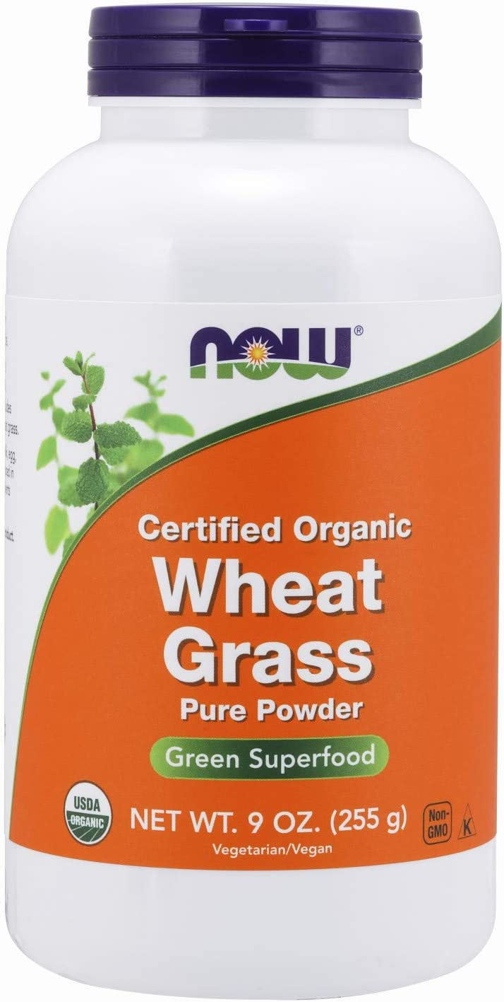 NOW Supplements, Certified Organic and Non-GMO, Wheat Grass Powder, Green Superfood,9-Ounce