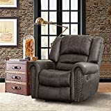 CANMOV Breathable Bonded Leather Recliner Chair, Classic and Traditional 1 Seat Sofa Manual