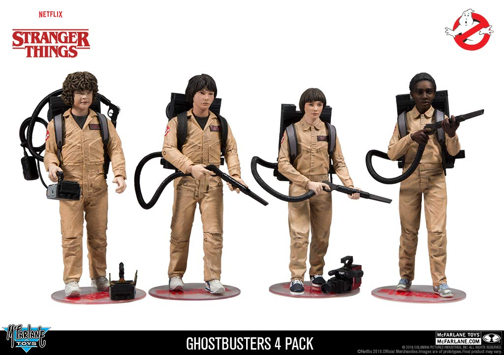 McFarlane Netflix Stranger Things Ghostbusters Dustin Mike Will Lucas 4 Pack Exclusive Set