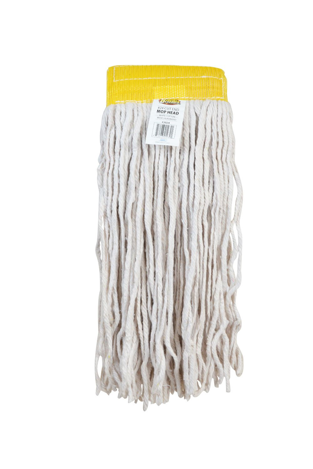 Bristles Wet Cut End Mop Head Replacement, Pack of 12 (24#, White)