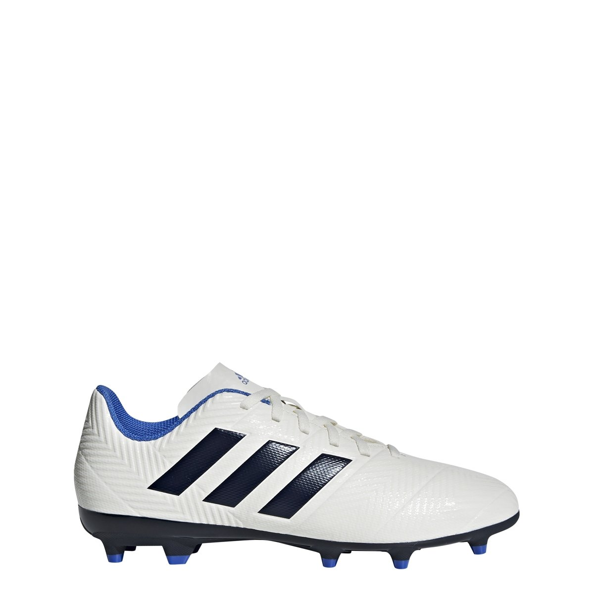 adidas Women's Nemeziz 18.4 Firm Ground Soccer Shoe, Off White/Legend Ink/Hi-Res Blue, 8 M US