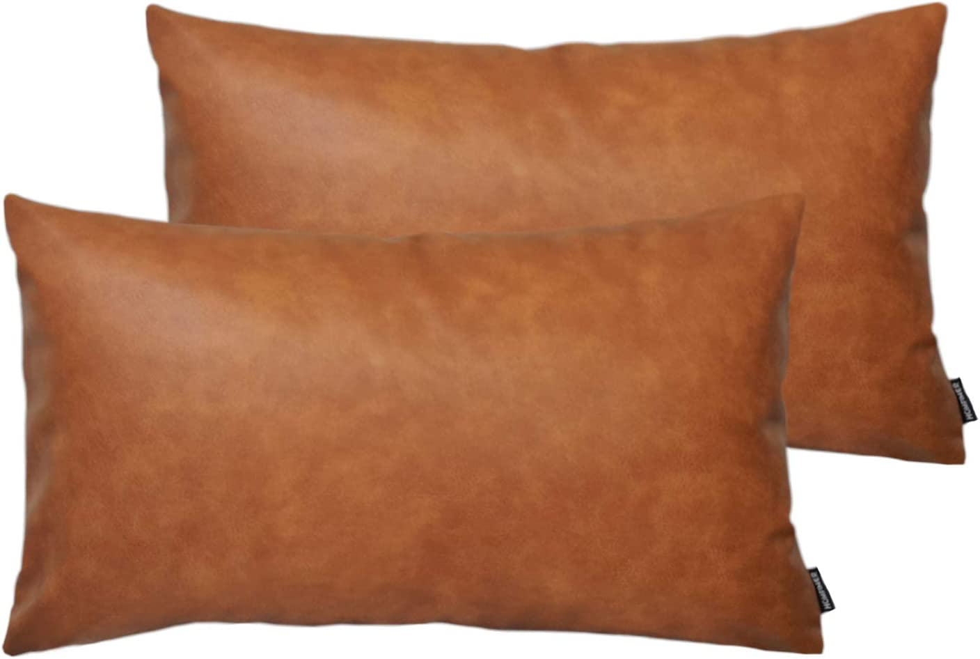 Amazon Com Homfiner Faux Leather Lumbar Throw Pillow Covers For Couch Bed Sofa Decorative 12x20 Set Of 2 Thick Modern Farmhouse Boho Small Long Accent Scandinavian Decor Rectangle Cushion Cases Cognac Brown Home