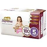 Huggies Supreme Pañal Desechable para Bebé, Etapa 5 Niña, Caja con 180 Piezas, Ideales para niñas de 11 a 14.5 kg
