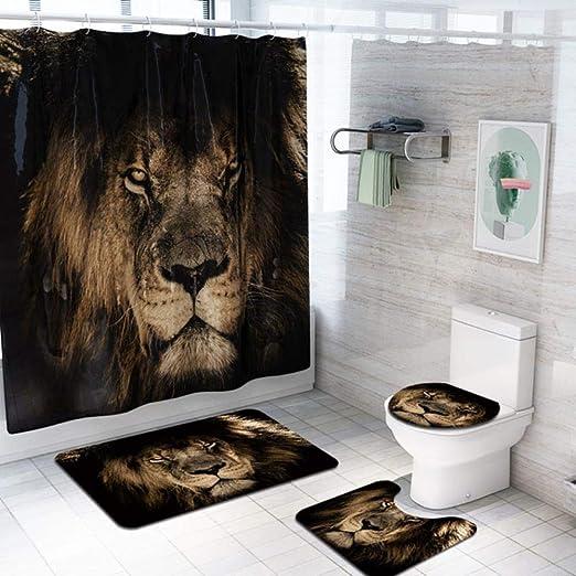 NEK Juego de mamparas de baño de Tela de poliéster con Alfombra de baño 3 Piezas Alfombra Animales patrón de Lobo Cortinas de baño para baño, Juego de 4 Piezas E: Amazon.es: