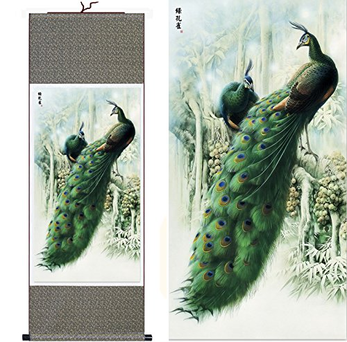 MODEBESO Silk Chinese Painting peacock Home Decorate Calligr