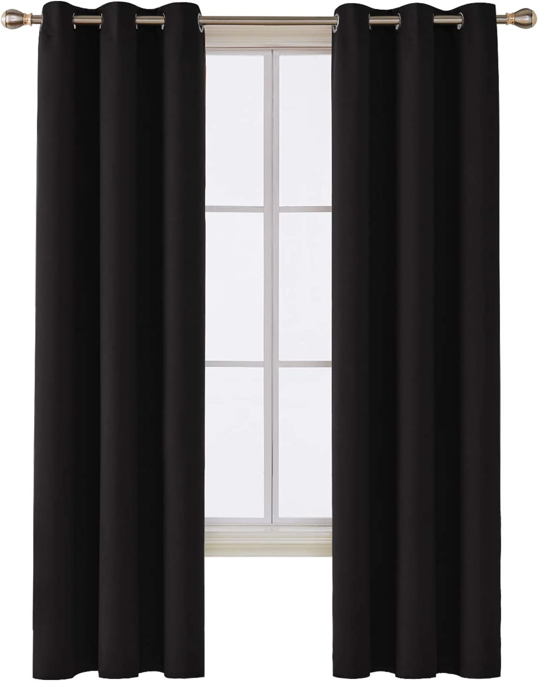 Deconovo Room Darkening Thermal Insulated Blackout Grommet Window Curtain for Bedroom, Black,42x84-inch,1 Panel