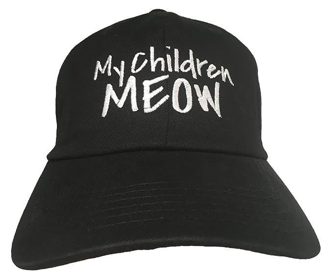 cbe6c8b60fc Amazon.com  My Children Meow - Black Embroidered Ball Cap  Clothing