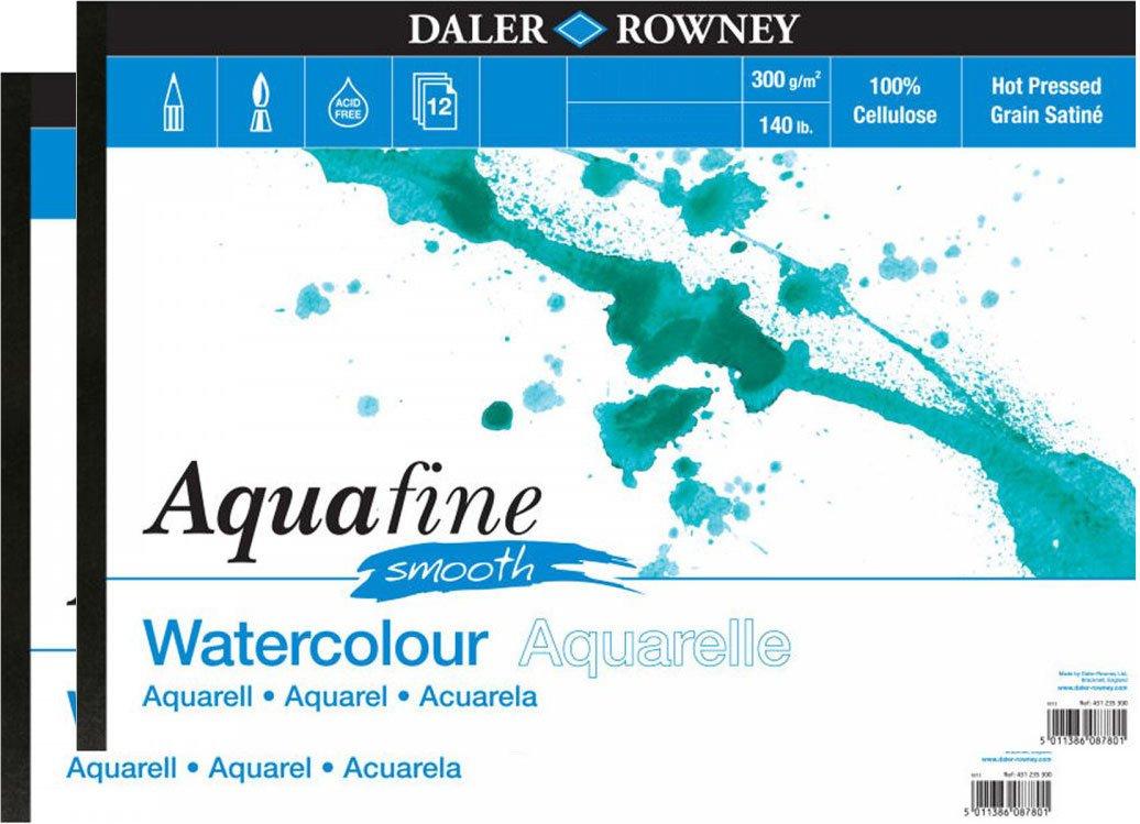 300gsm A4 Smooth Daler Aquafine Jumbo Watercolour Pad 140lb 50 Sheets