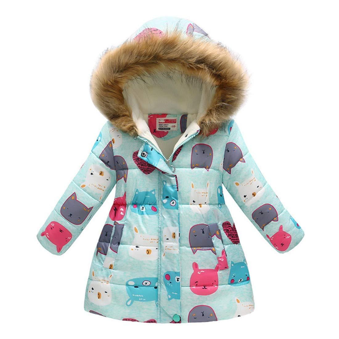 LJYH Little Girls Winter Fleece Lined Jacket Coat Kids Thick Hooded Outwear Coat 3-10Years