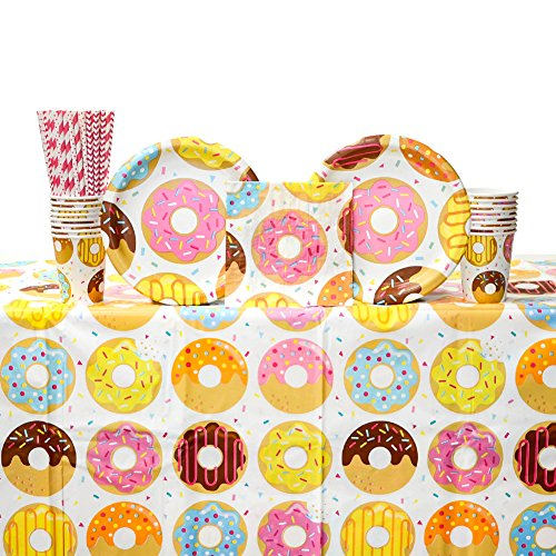 - Donut Time! Donut Themed Party Supplies Pack for 16 Guests | 24 Paper Straws, 16 Paper Dinner Plates, 16 Paper Luncheon Napkins, 16 Paper Cups, and 1 Table Cover | Donut Birthday Party Decorations