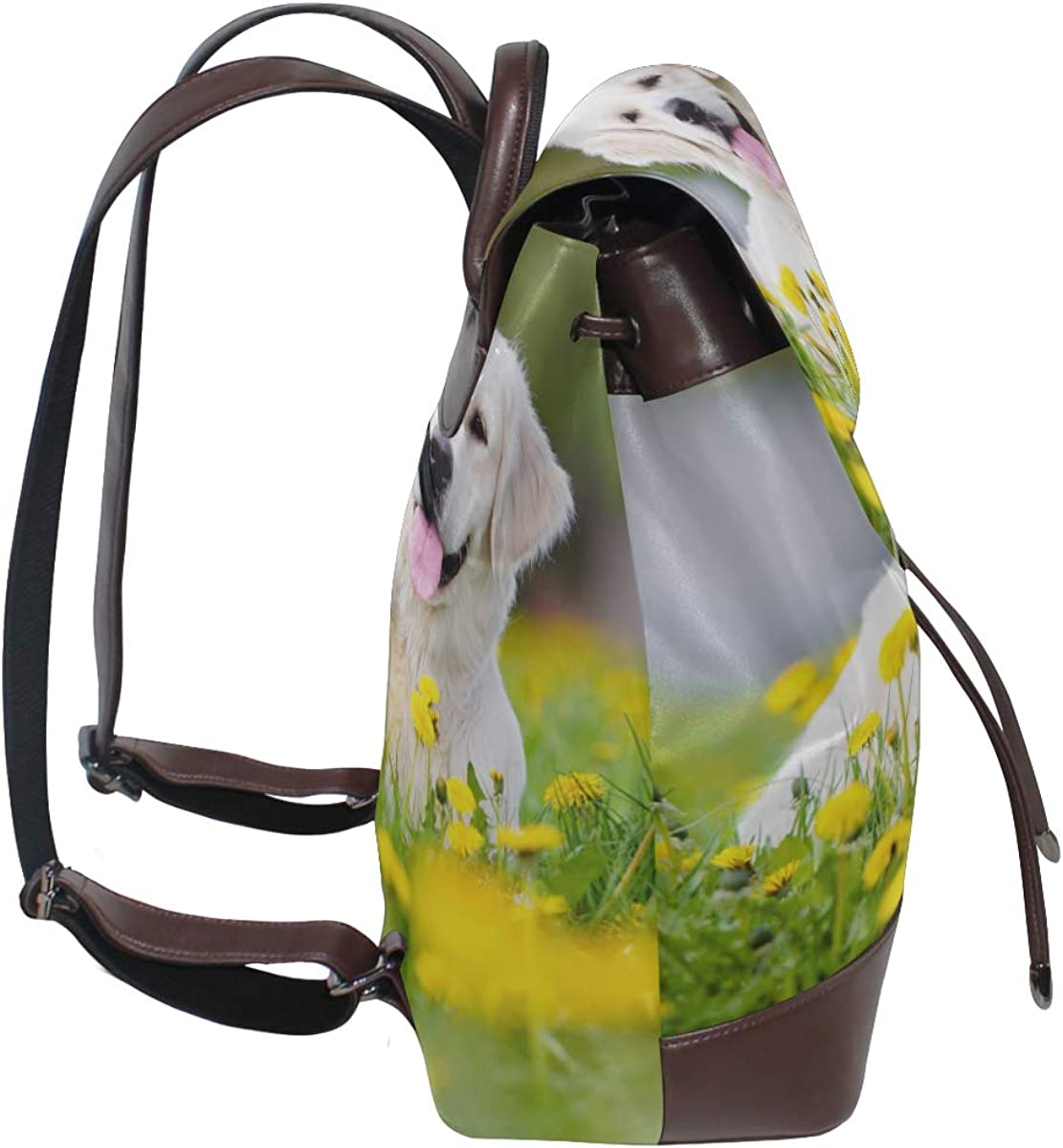 Dog In The Beautiful Flower Fields Leather Backpack Bag Leather Backpack Drawstring Waterproof Backpack Leather Women Unique Shoulder Bags For Women