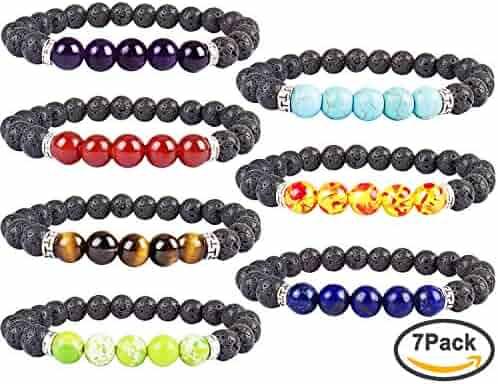YISSION 7 Pack 7 Chakras Gemstone Bracelet Natural Stones Stretch Bracelets Yoga Reiki Prayer Beads Lucky Bracelet