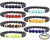YISSION 7 Pack 7 Chakras Gemstone Bracelet Natural Stones Stretch Bracelets Yoga Reiki Prayer Beads Lucky Bracelet