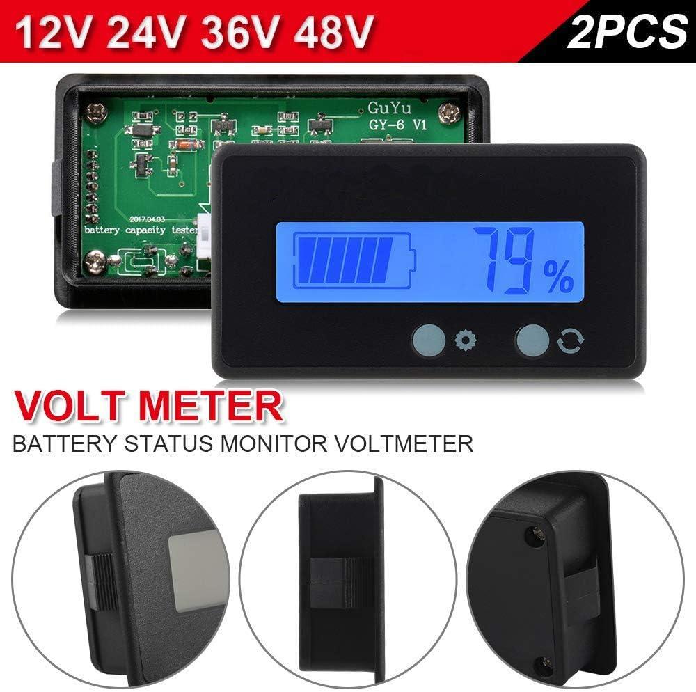 2pcs LCD Battery Capacity Monitor Gauge Meter,Waterproof 12V//24V//36V//48V Lead Acid Battery Status Indicator,Lithium Battery Capacity Tester Voltage Meter Monitor Blue Backlit for Vehicle Battery