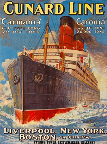 Vintage Cruise Ship - A SLICE IN TIME Cunard Line Carmania Liverpool, New York, Boston Vintage Ocean Liner Cruise Ship Travel Home Collectible Wall Decor advertisement Art Poster Print. Measures 10 x 13.5 inches