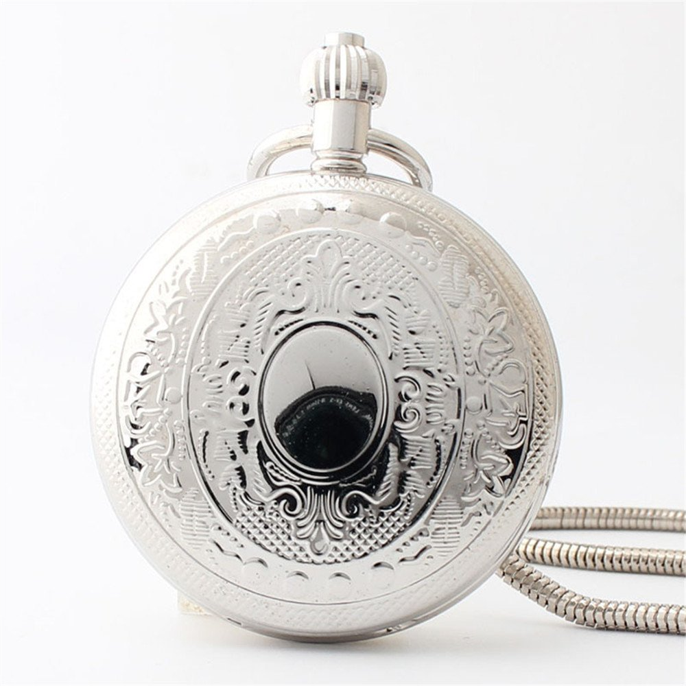 Zxcvlina Classic Smooth Silvery Copper Retro Pocket Watch Unisex Round Mechanical Pocket Watch with Chain Suitable for Gift Giving