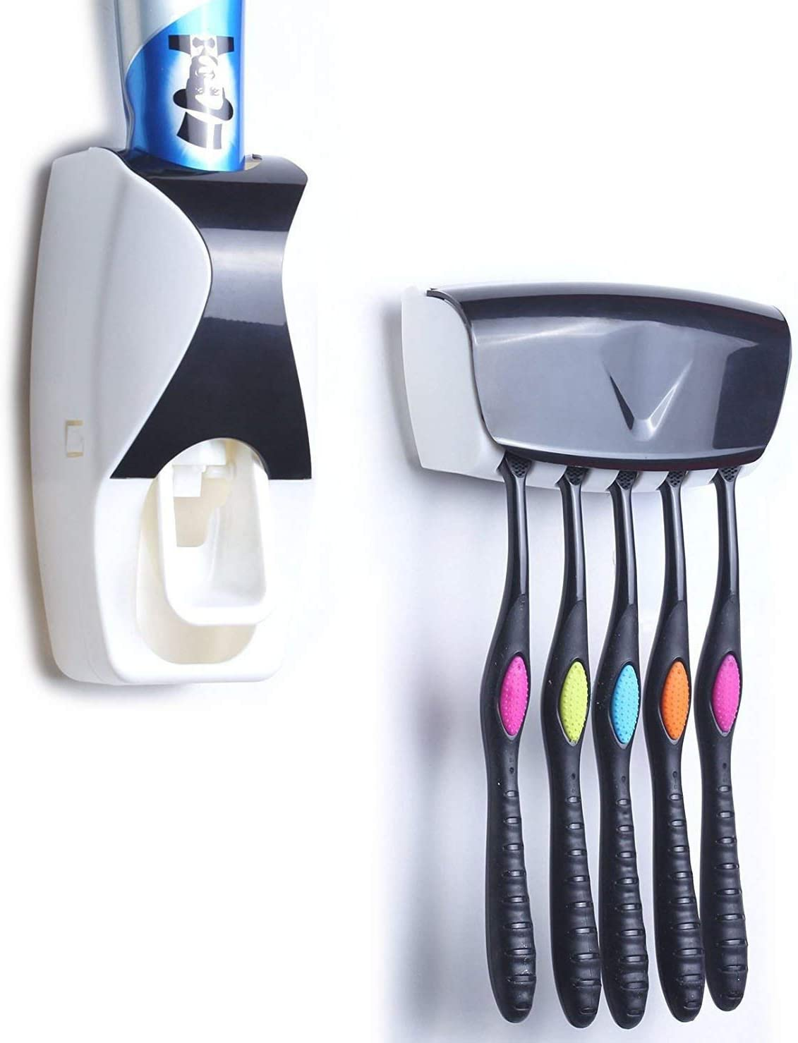 Black Gearmax/® Wall Mount Automatic Dust-proof Toothpaste Dispenser Toothpaste Squeezer Kit Family Toothbrush Holder Stand Set