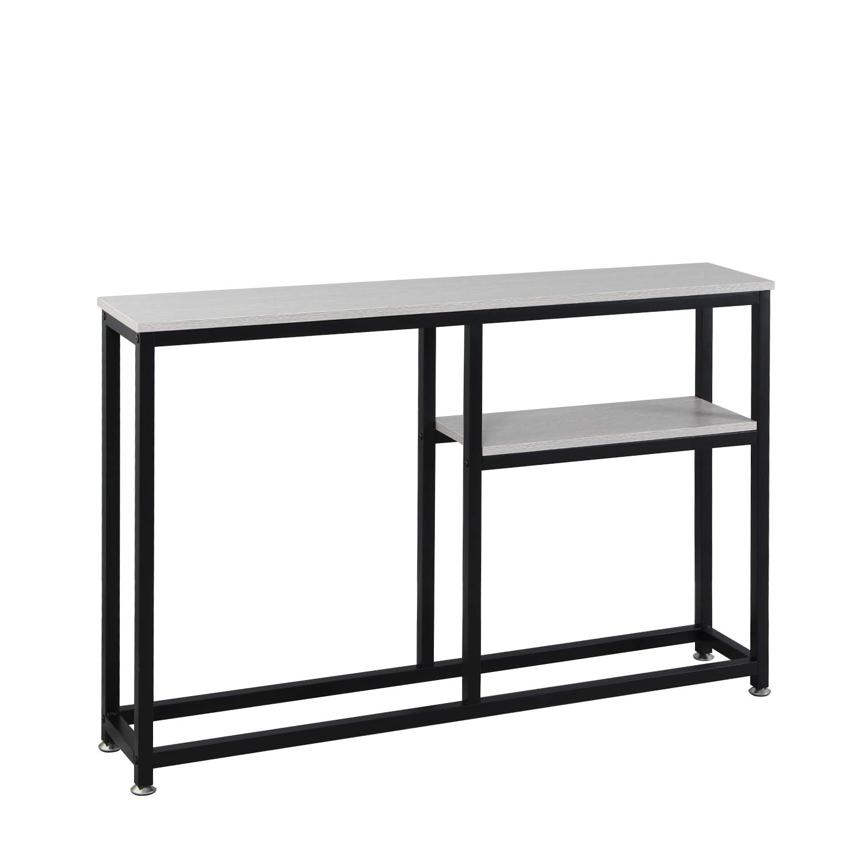 Gris Ch/êne DX-122-BR soges Table Console 120 cm avec /Étag/ère pour Salon//Couloir//Entr/ée Structure en M/étal