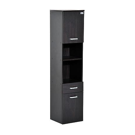 Great HomCom 53u0026quot; Tall Floating Wall Mounted Bathroom Storage Cabinet   Dark  Coffee