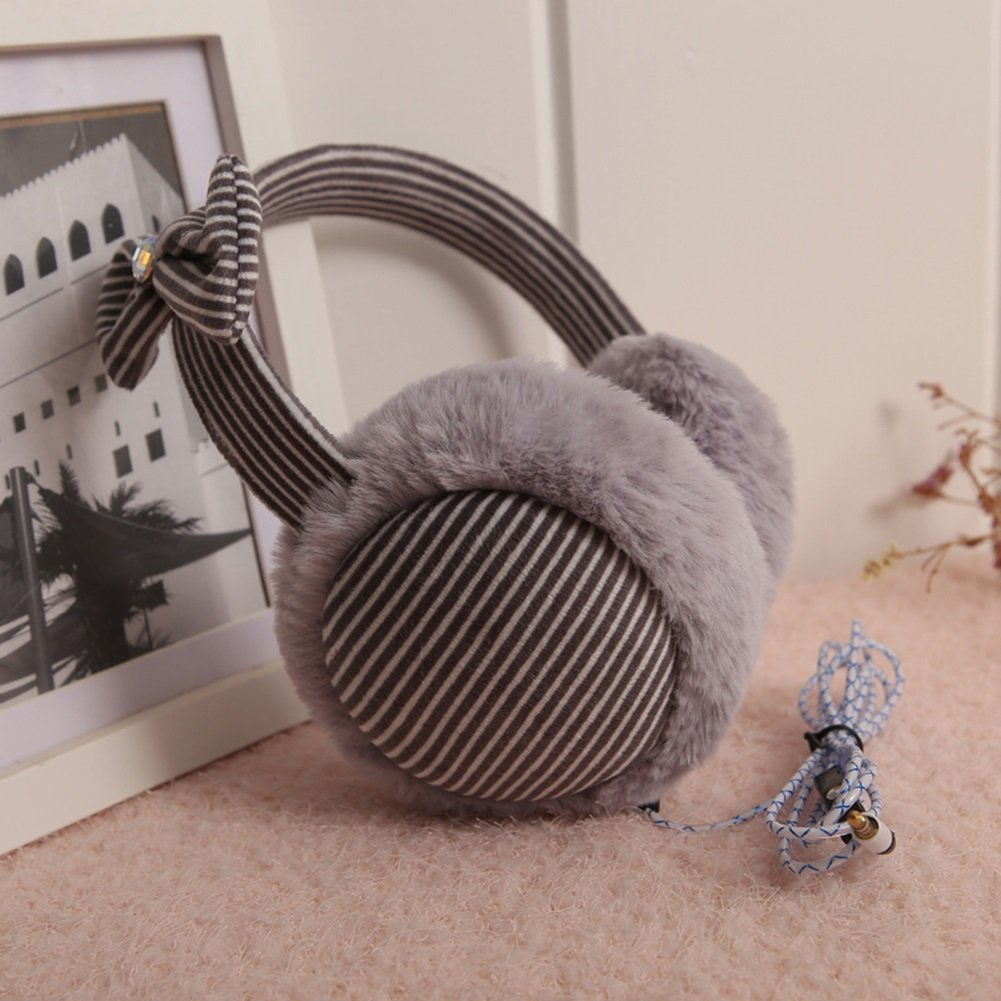 YIXIN Earmuffs Music Headphones High-quality Soft Material Stripe Keep Warm Winter Use 5 Colors ( Color : Gray )