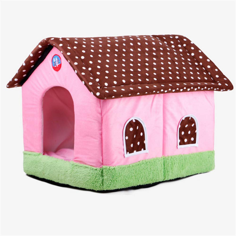48x40x40cm Mzdpp Pink House Dog Bed Cat Litter Kennel Warm Detachable And Washable 48  40  40Cm Small 48  40  40Cm