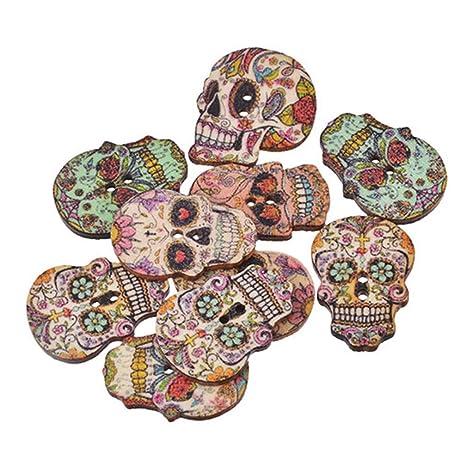 Knöpfe 50 Stück Totenkopf Gemischt Skelett Basteln Nähen Holz 2 Loch Kreativsets für Kinder Sonstige Kreativsets für Kinder