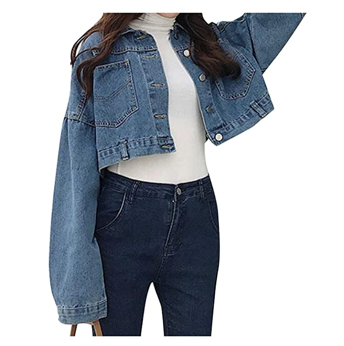 5935b7fe2d2dc ARTFFEL-Women Boyfriend Loose Button Down Short Cropped Denim Jean Jacket  Coat Dark Blue OS at Amazon Women s Coats Shop