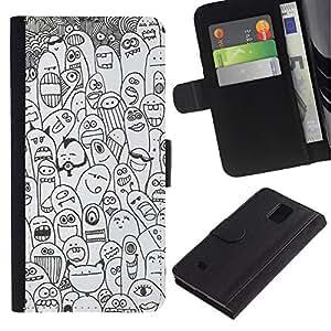 WINCASE Cuadro Funda Voltear Cuero Ranura Tarjetas TPU Carcasas Protectora Cover Case Para Samsung Galaxy Note 4 IV - animales felices de dibujos animados criaturas monstruos