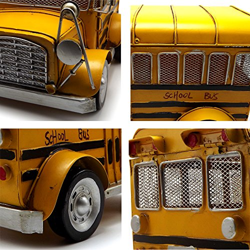 Escomdp Large Size Vintage School Bus,Home Décor, Kids' Room Decoration ,Handmade Collections Metal Vehicle Toy Model(Yellow) by Escomdp (Image #4)