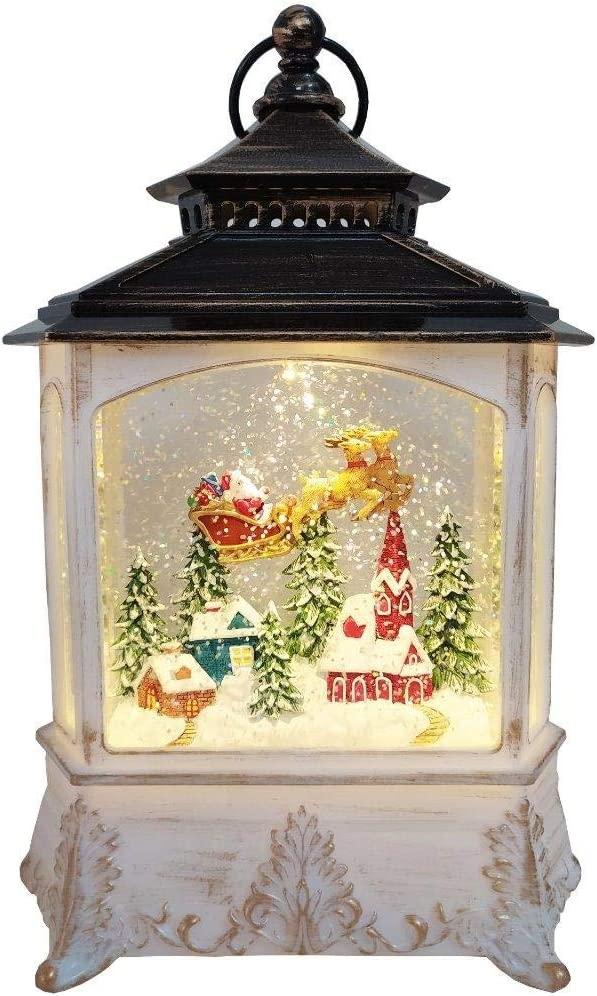 Lightahead Christmas House Light Lamp with Santa on Sleigh Figurine Inside, Musical Swirling Glitter Warm White LED Light and 8 Melodies Home Christmas Decorations