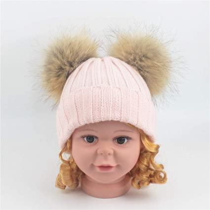 dd0ba472ce85 Kids Hat Infant Toddler Cute Winter Warmer Knitted Crimping Wool Ball Cap  Baby Girl Boy Beanie Hats (Color   Pink)  Amazon.co.uk  Kitchen   Home