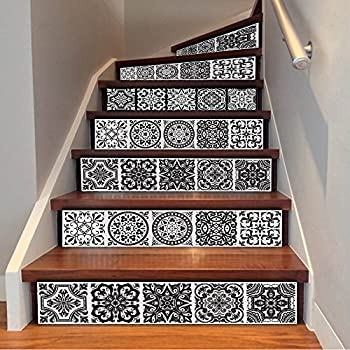 funlife stair decor wall stickers ceramic tiles patterns art and crafts mission and. Black Bedroom Furniture Sets. Home Design Ideas
